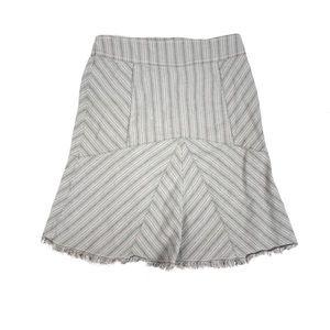 Anthropologie Lux skirt linen blend raw hem stripe